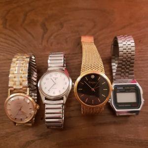 4 Mens Watches Timex Pulsar Tempus Casio